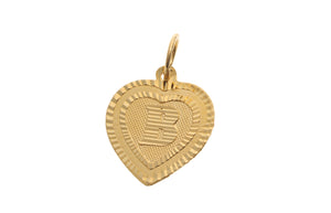 22ct Yellow Gold Heart Shaped 'B' Initial Pendant (1g) (P-5602)