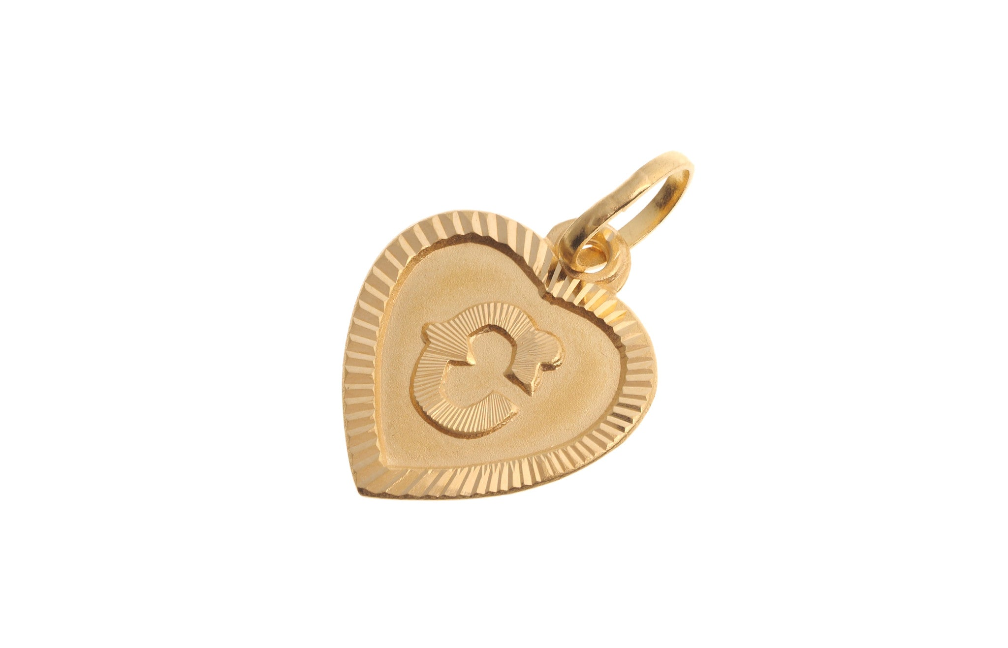 22ct Yellow Gold Heart Shaped C Initial Pendant 1g P