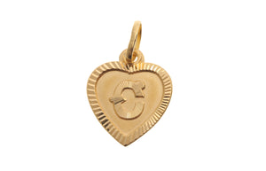 22ct Yellow Gold Heart Shaped 'C' Initial Pendant (1g) (P-5610)