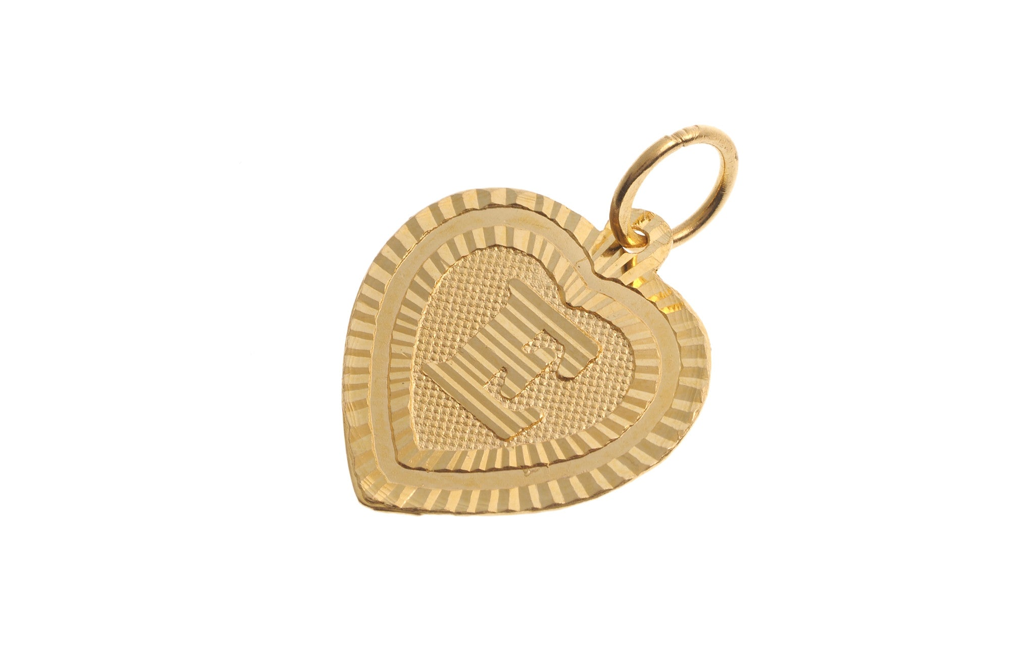 'E' Initial Pendant 22ct Yellow Gold Heart Shaped (0.9g) P-5614