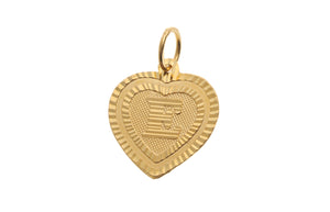 22ct Yellow Gold Heart Shaped 'E' Initial Pendant (0.9g) (P-5614)