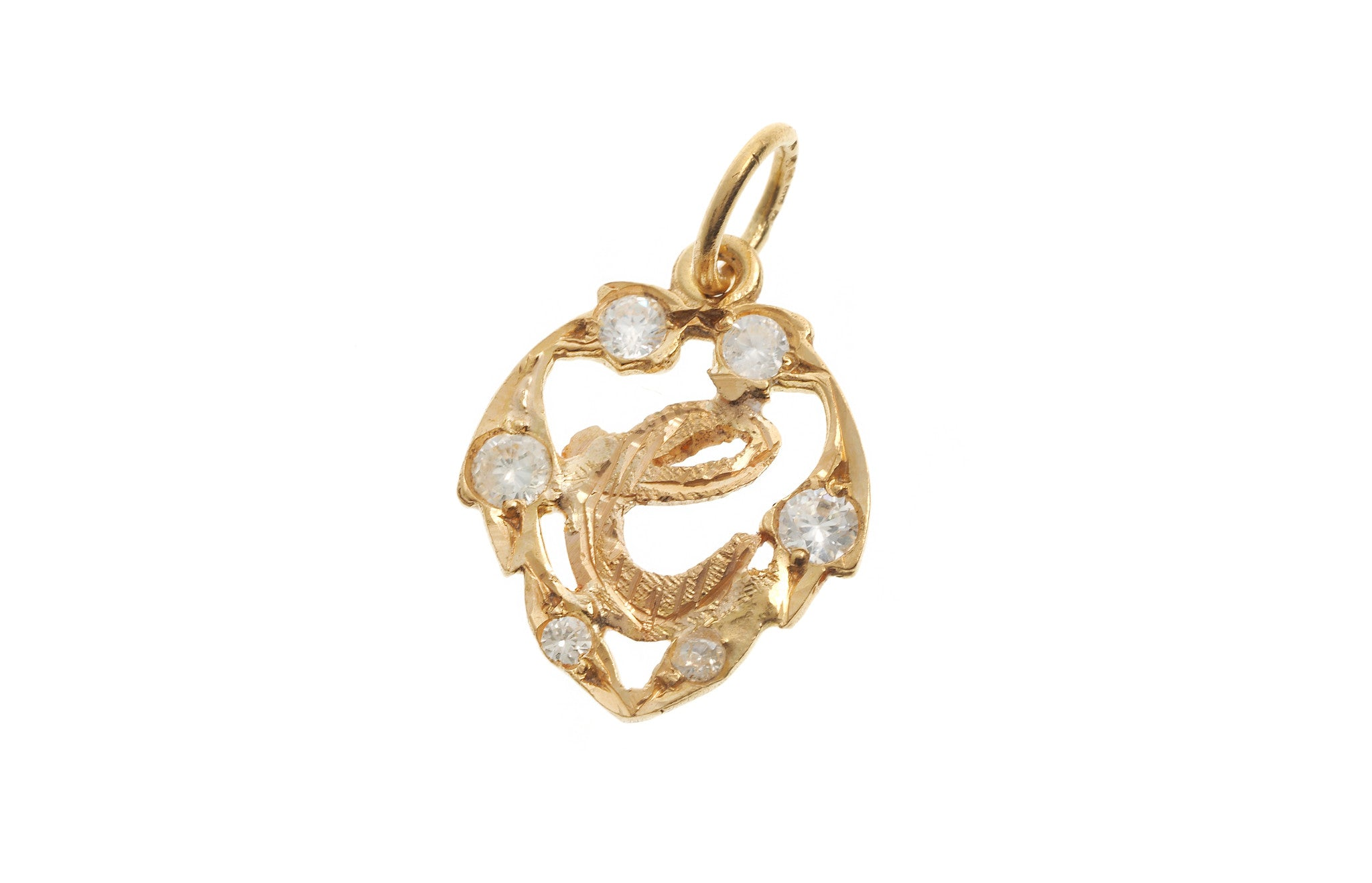 'E' Initial Pendant 22ct Yellow Gold Cubic Zirconia (1.7g) P-5615