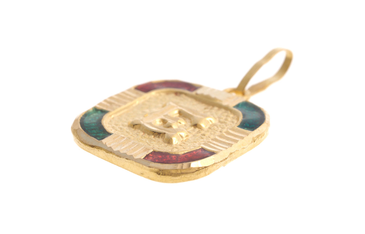 22ct Yellow Gold & Enamel 'E' Initial Pendant (P-5616)