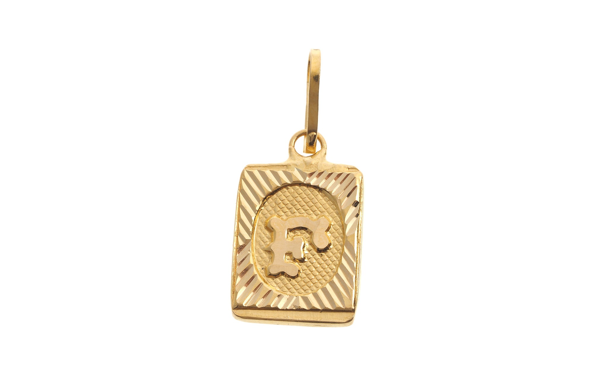 22ct Yellow Gold 'F' Initial Pendant (0.9g) (P-5618)