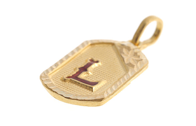 22ct Yellow Gold & Enamel 'L' Initial Pendant (P-5635)