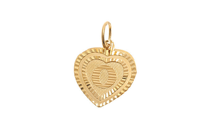 22ct Yellow Gold Heart Shaped 'O' Initial Pendant (P-5639)