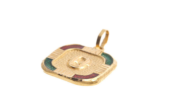 22ct Yellow Gold & Enamel 'O' Initial Pendant (P-5641)