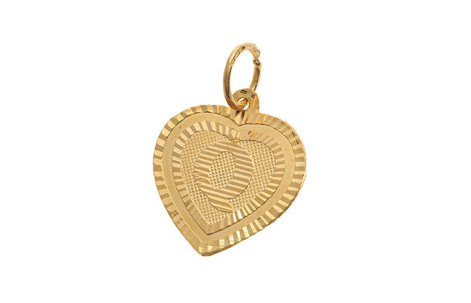 'Q' Initial Pendant 22ct Yellow Gold Heart Shaped (0.9g) P-5642