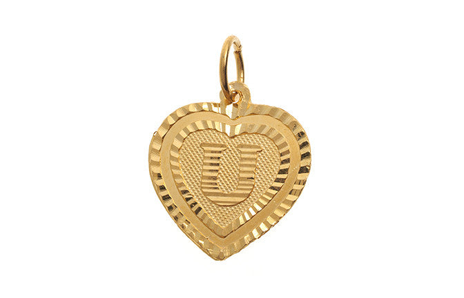 'U' Initial Pendant 22ct Yellow Gold Heart Shaped (1g) P-5646