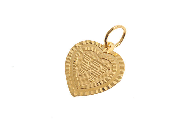'W' Initial Pendant 22ct Yellow Gold Heart Shaped (0.9g) P-5650