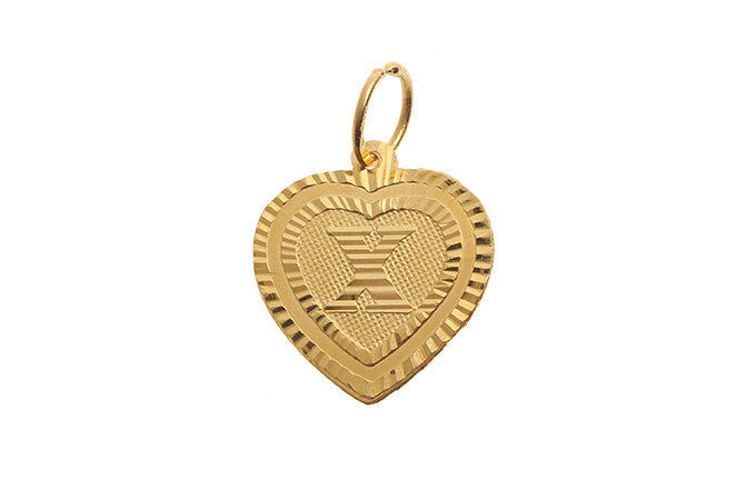 'X' Initial Pendant22ct Yellow Gold Heart Shaped (0.9g) P-5652