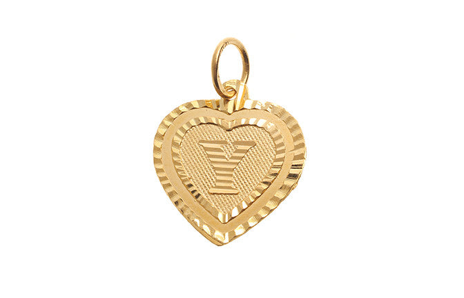 'Y' Initial Pendant 22ct Yellow Gold Heart Shaped (0.9g) P-5654