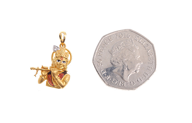 22ct Gold Krishna with flute Pendant set with a Cubic Zirconia Stone (4g) P-6231