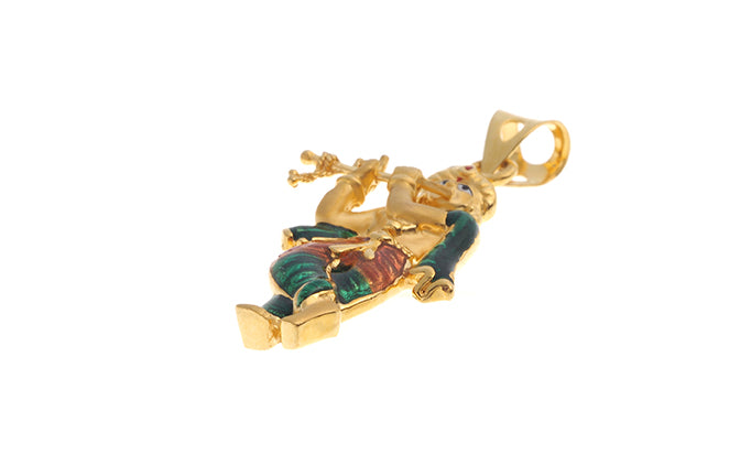 22ct Gold Krishna with flute Pendant with enamel painted detail (P-6232) (online price only)