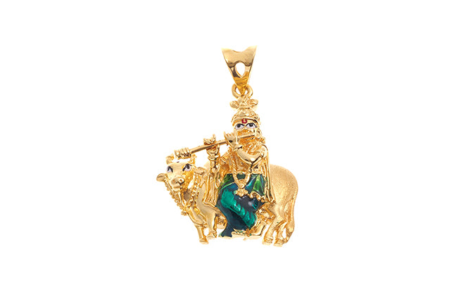 22ct Gold Krishna with flute in front of a cow Pendant (P-6233) (online price only)