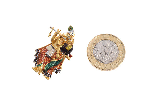 22ct Yellow Gold Radha Krishna Pendant with flute (10.9g) P-6274