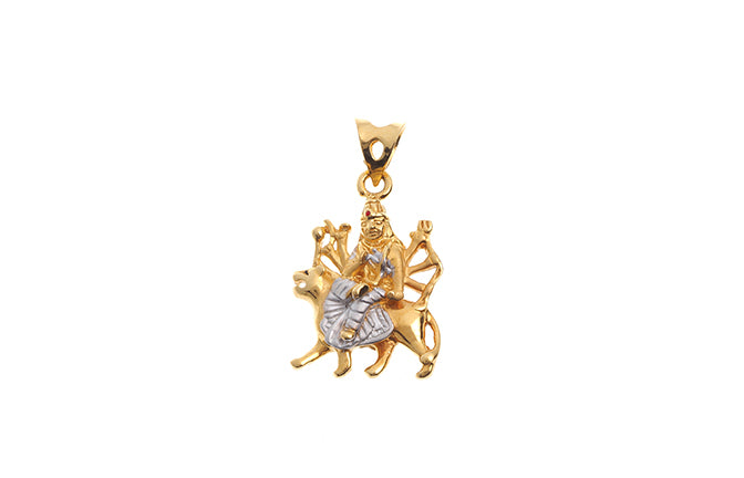 22ct Gold Amba Mataji Pendant with matte finish rhodium design (4.8g) P-6278