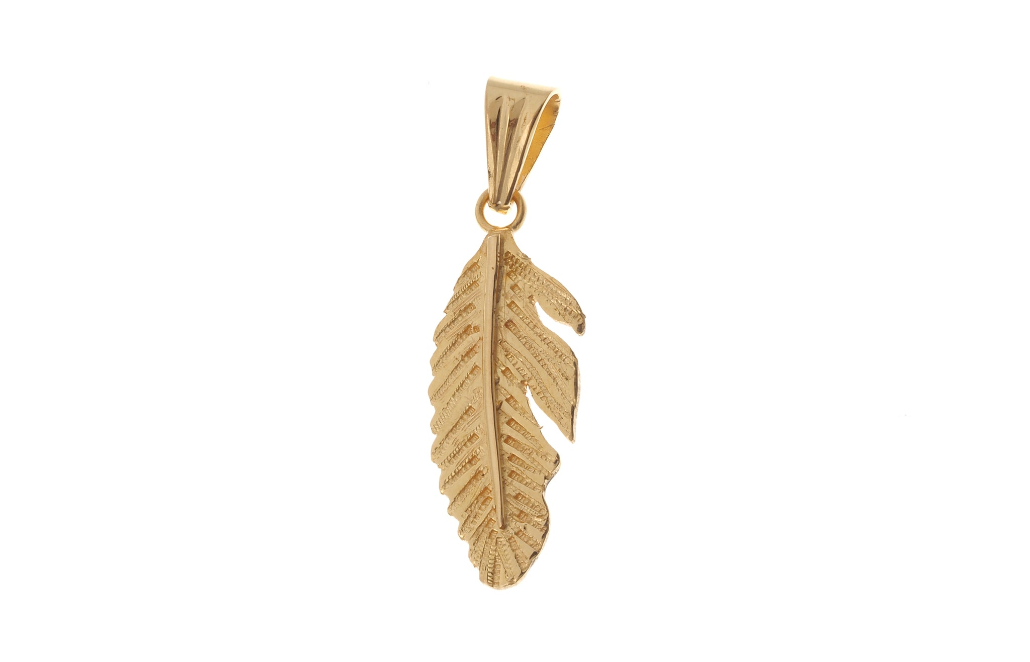 22ct Yellow Gold Feather Pendant P-6468