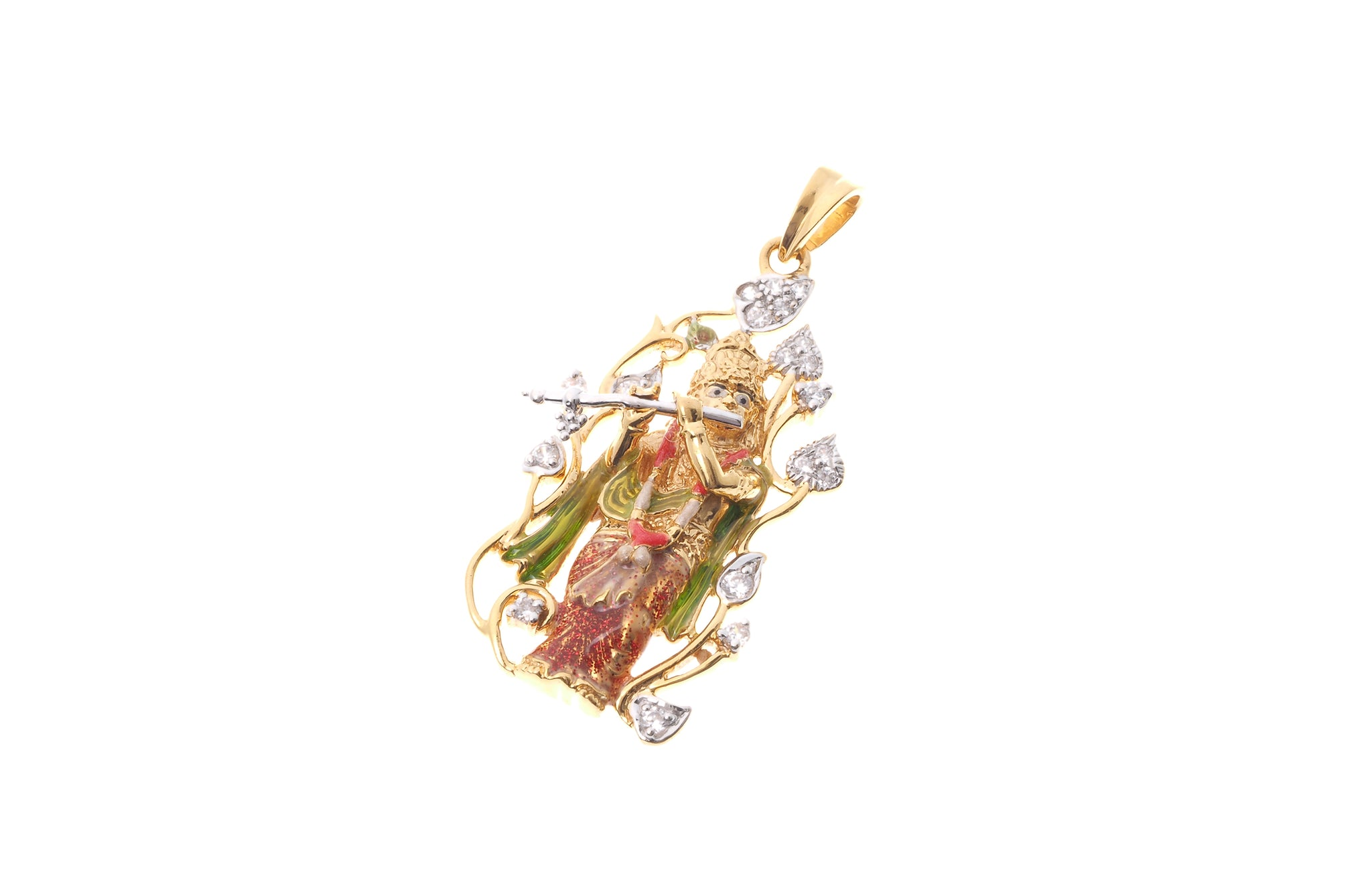 22ct gold pendants minar jewellers 22ct gold krishna pendant with flute cubic zirconia stones p 6581 aloadofball Image collections