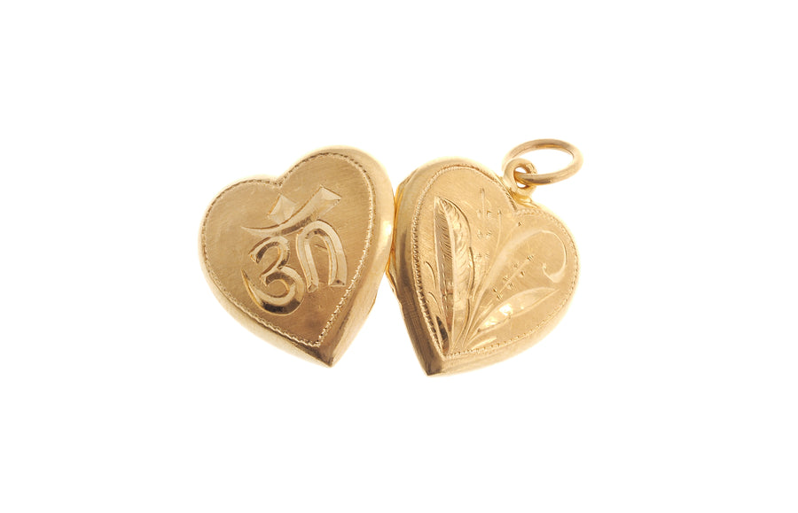 22ct Gold Heart Shaped Locket Pendant with Om Symbol (5.8g) P-7063
