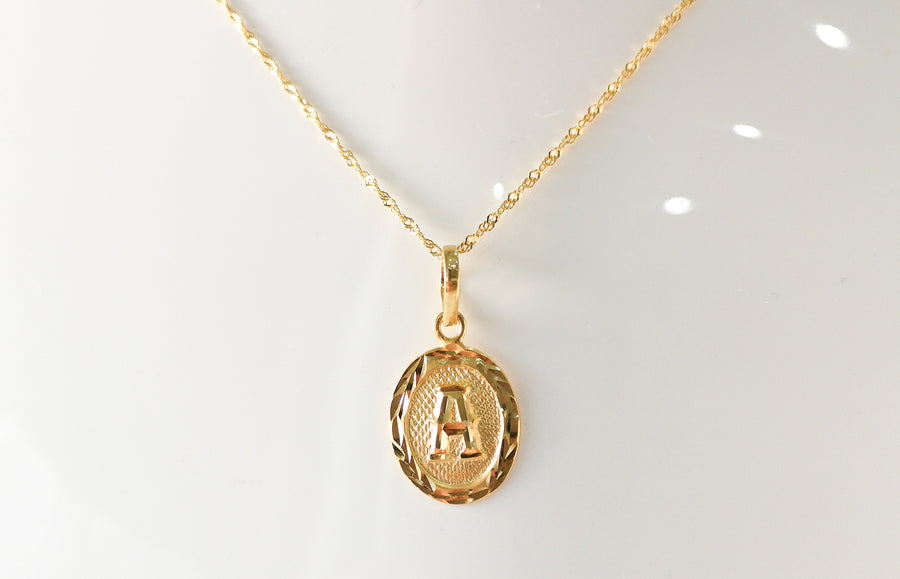 'A' Initial Pendant 22ct Gold P-7550