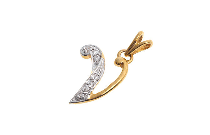 'V' Initial Pendant (22ct Yellow Gold Cubic Zirconia (1.29g) P000V1
