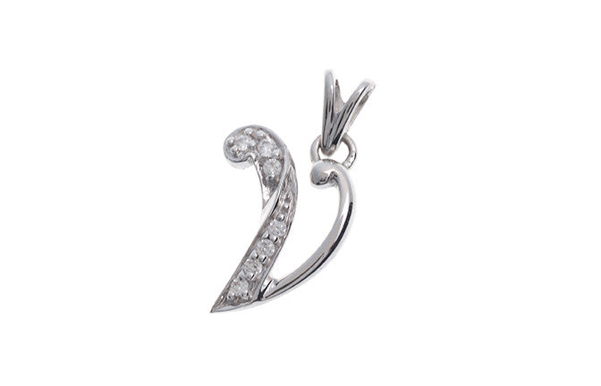 18ct White Gold Cubic Zirconia 'V' Initial Pendant (P000V1)