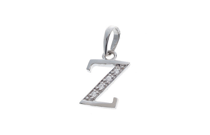 'Z' Initial Pendant 18ct White Gold Cubic Zirconia (1.14g) P000Z1