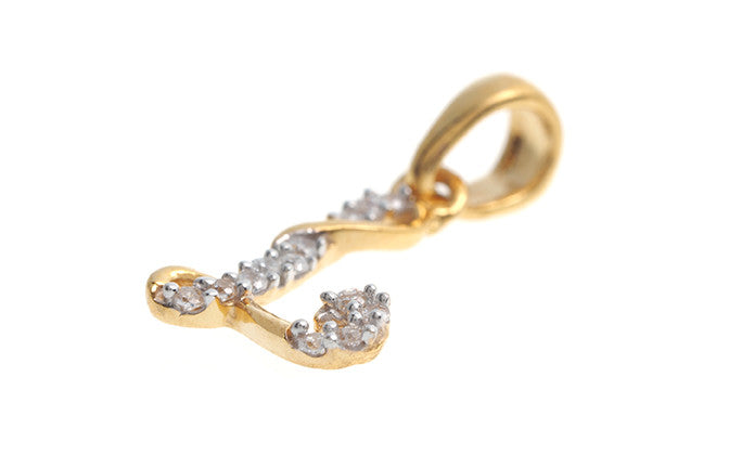 'L' Initial Pendant 22ct Yellow Gold Cubic Zirconia (0.98g) P100L1