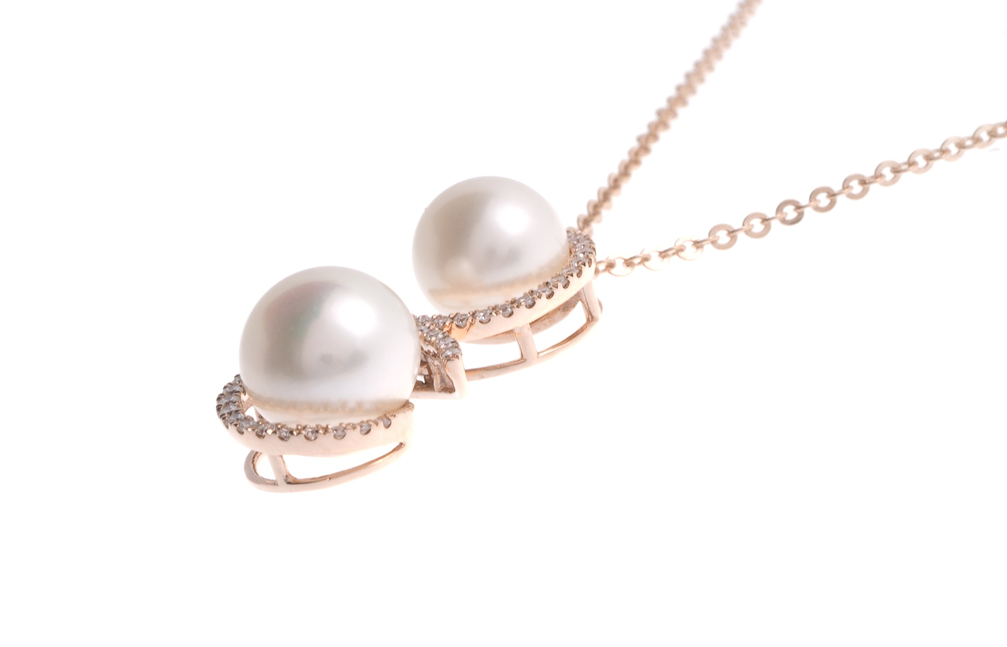 18ct Rose Gold Diamond and Cultured Pearl Pendant with Chain (P35667-15)