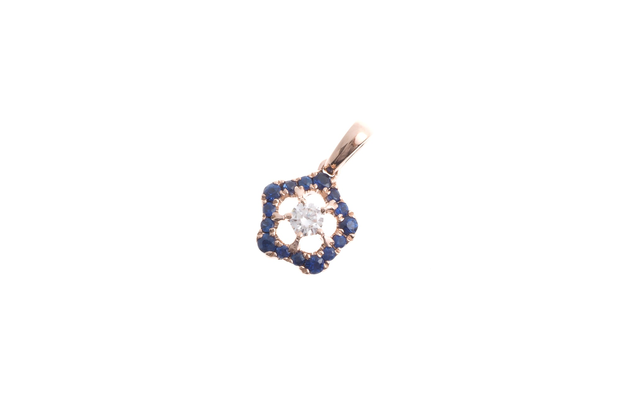 18ct Rose Gold Diamond and Blue Sapphire Pendant (P38474-1)