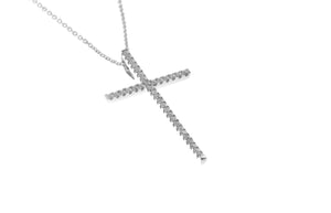 18ct White Gold Diamond Cross Pendant with Chain (P42562-5)