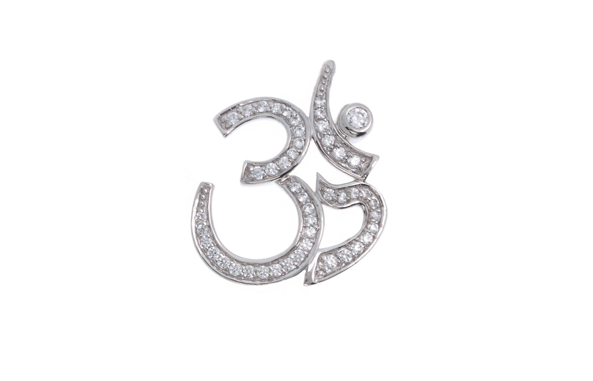 18ct White Gold Cubic Zirconia Om Pendant with Shiv Ling, Minar Jewellers - 1