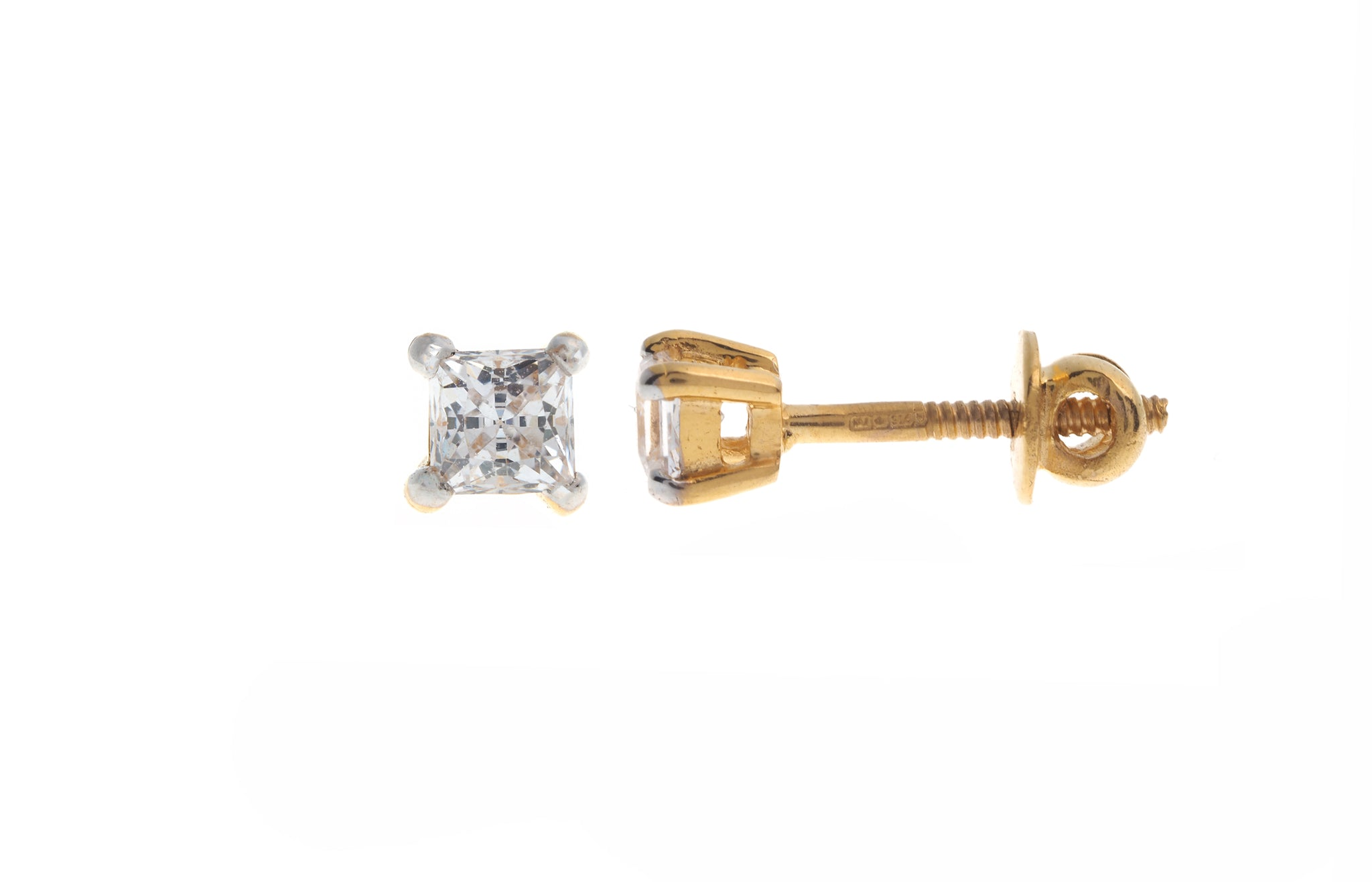 22ct Gold Stud Earrings set with a Swarovski Zirconia (1.56g) PR3MM