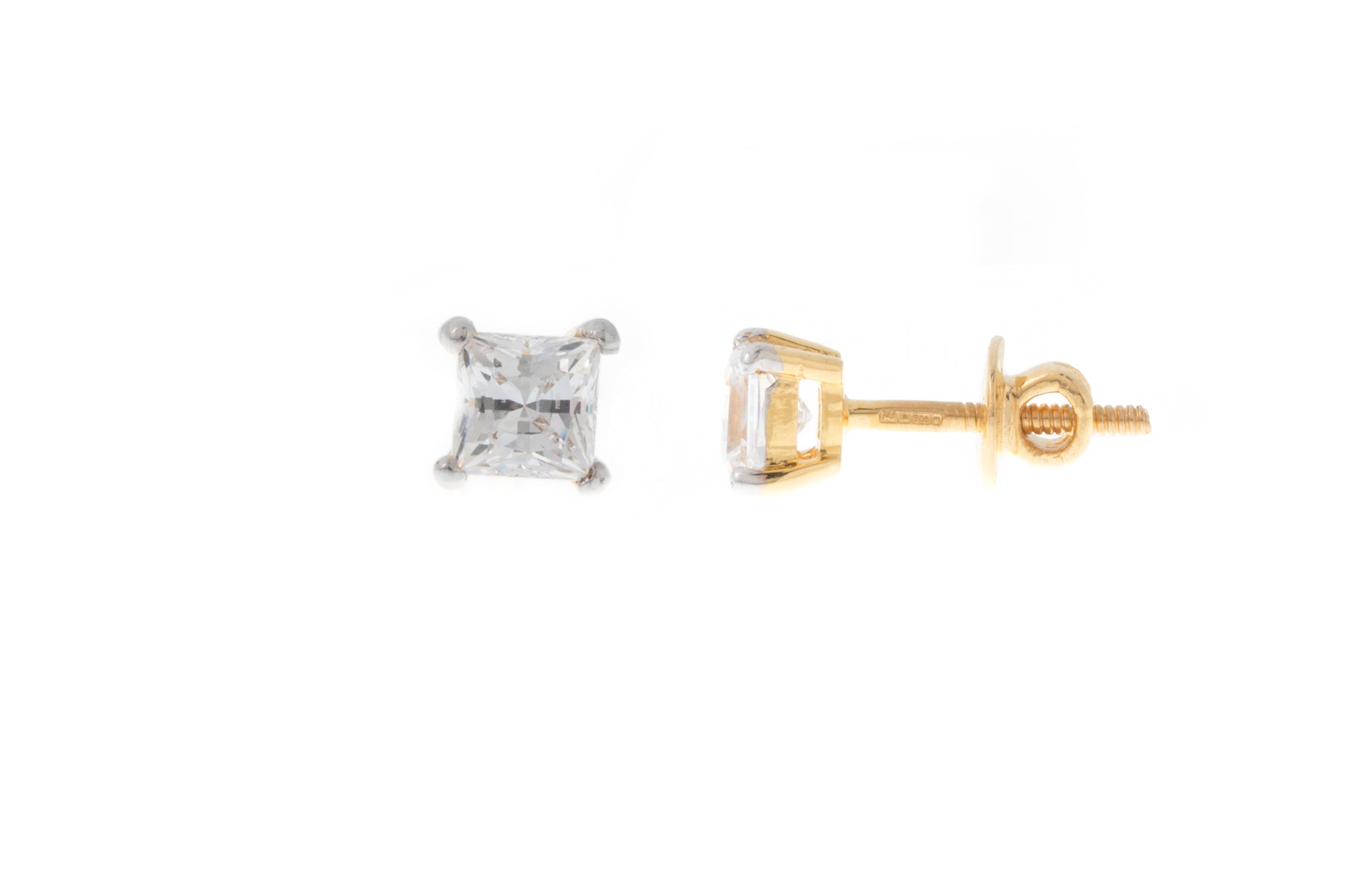 22ct Gold Stud Earrings set with a Swarovski Zirconia (1.89g) PR4MM