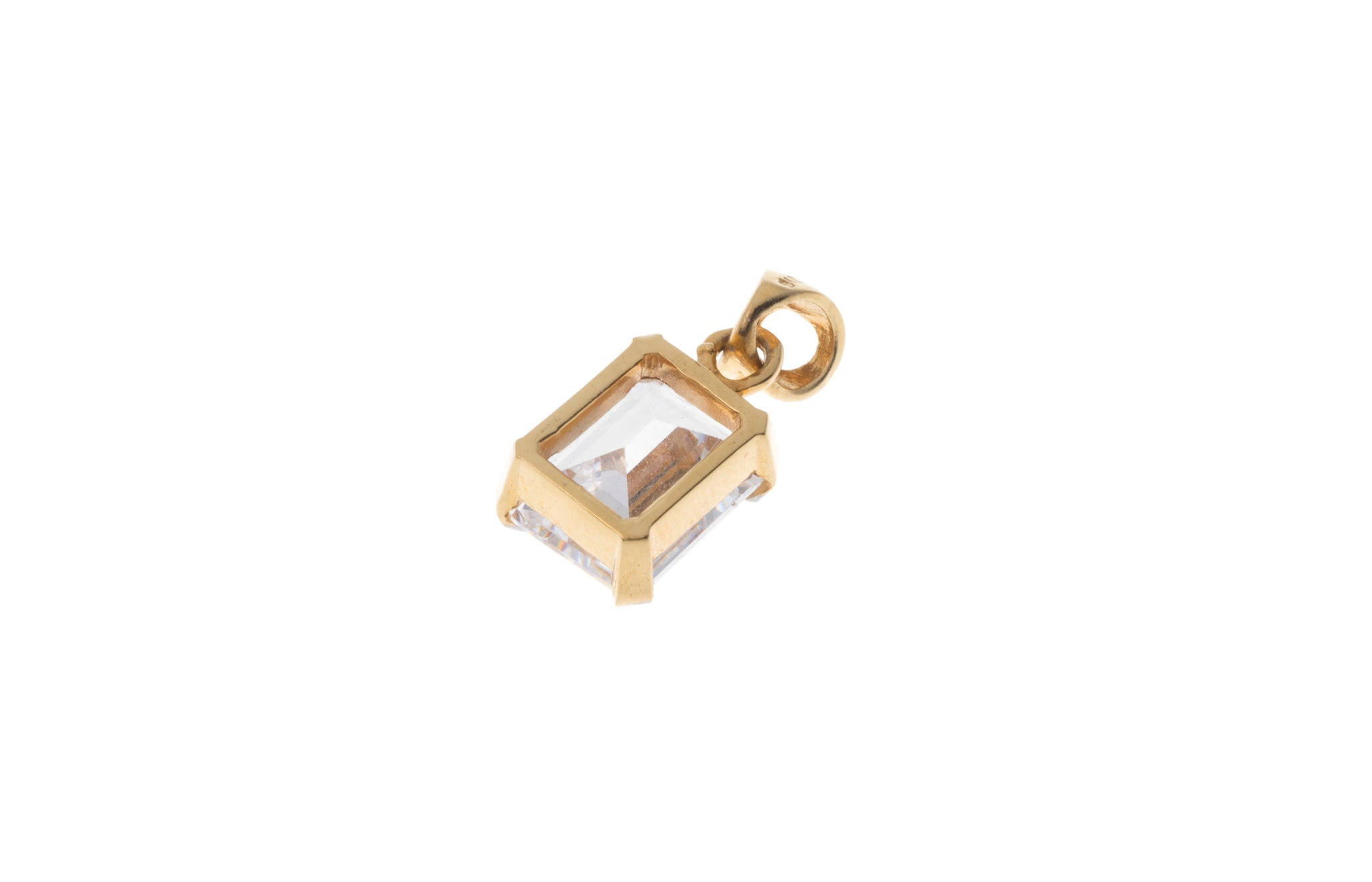 22ct Gold Emerald Cut Cubic Zirconia Pendant PS13037