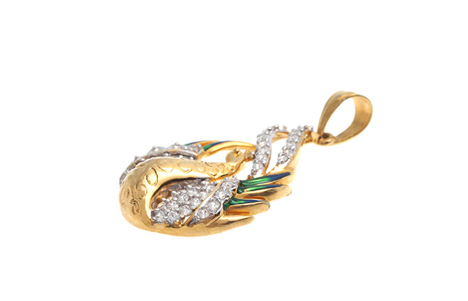 22ct Gold Cubic Zirconia Pendant with Peacock Design (6.17g) PS15052