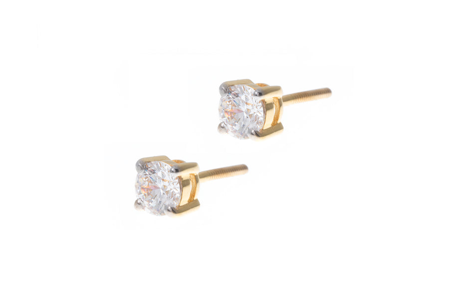 22ct Gold Cubic Zirconia Stud Earrings (2.5g) PSE7026