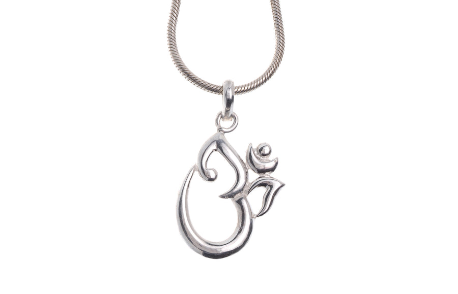"Sterling Silver Om Pendant & Chain 16"" (G5386 & G5387), Minar Jewellers - 1"