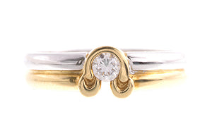 18ct Two Tone Gold Diamond Ring Q11106