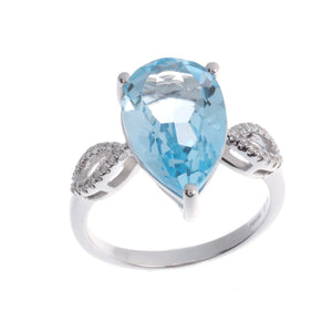 18ct White Gold Diamond and Blue Topaz Dress Ring (R32082-14)