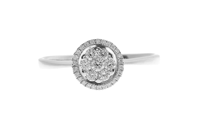 18ct White Gold Diamond Cluster Engagement Ring (R33703-107)
