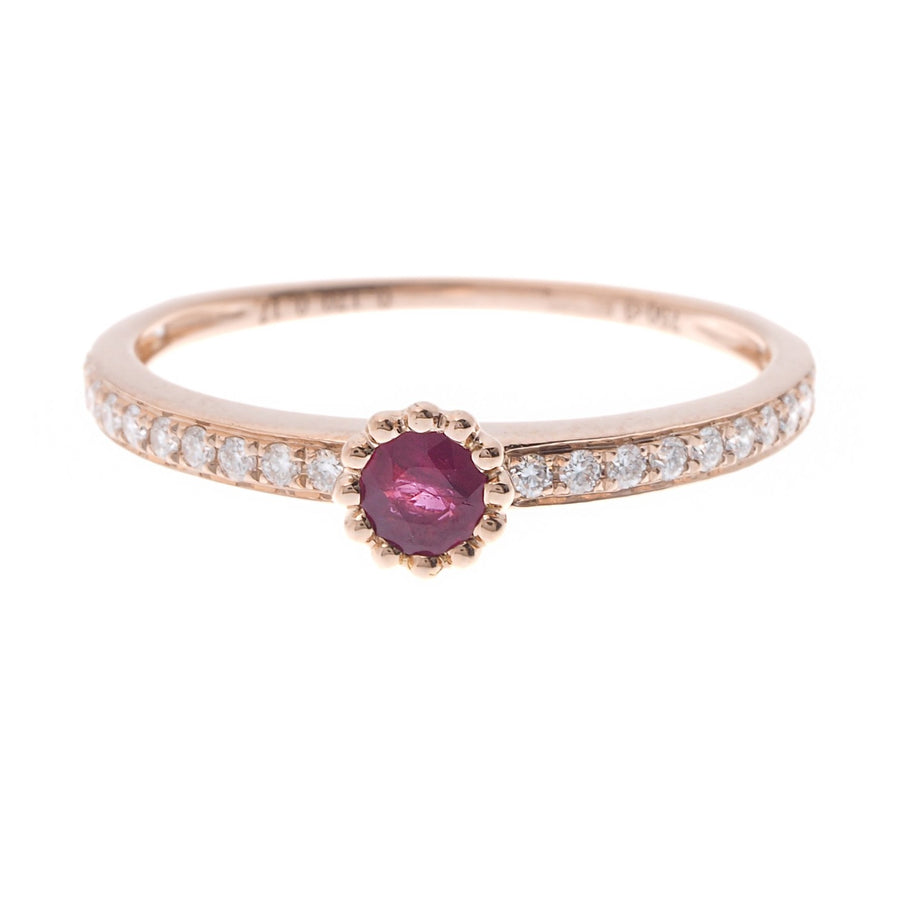 18ct Rose Gold Diamond and Ruby Engagement Ring (R35343-3022)