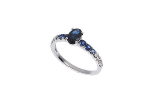 18ct White Gold Blue Sapphire & Diamond Dress Ring, Minar Jewellers - 3