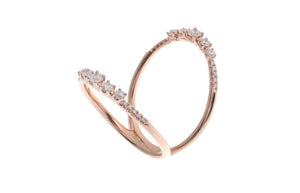 18ct Rose Gold Diamond Twin Ring (R42221-4)