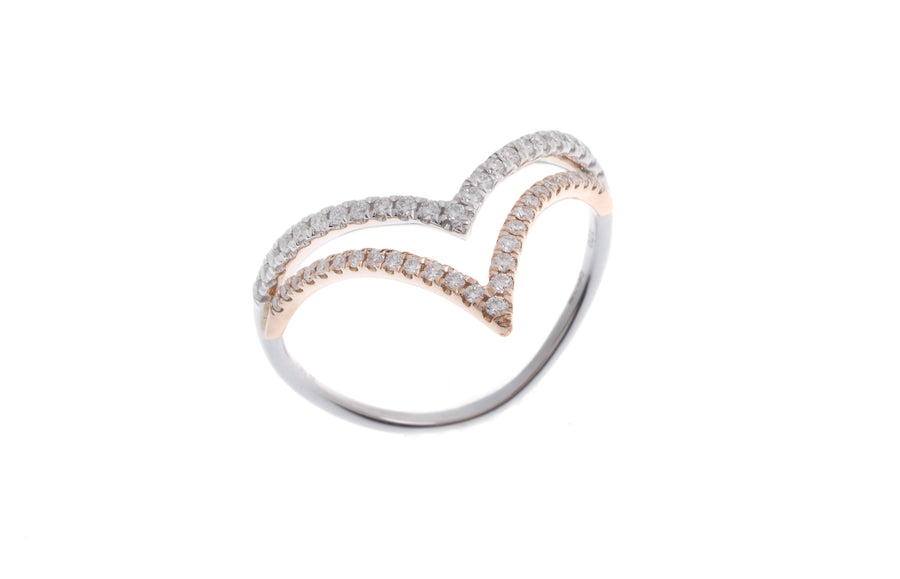 18ct Rose and White Gold Diamond Dress Ring (R43447-2)