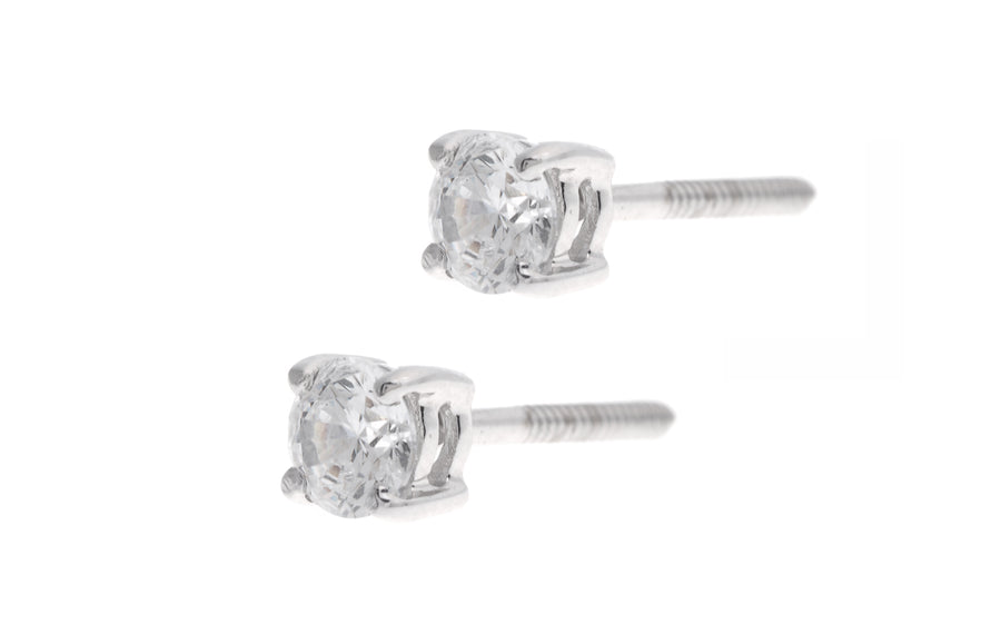 18ct White Gold Earrings set with Cubic Zirconia stones (1.3g) (RD0002)