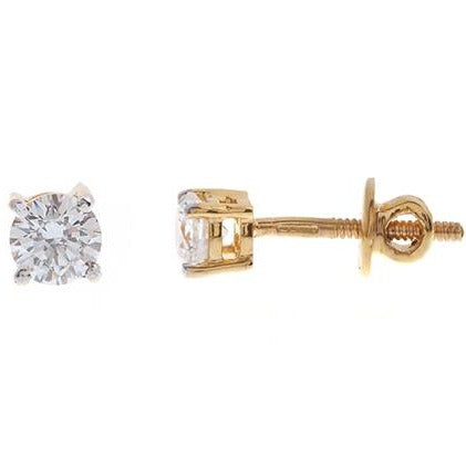 22ct Gold Cubic Zirconia Stud Earrings (1.69g) RD4MM