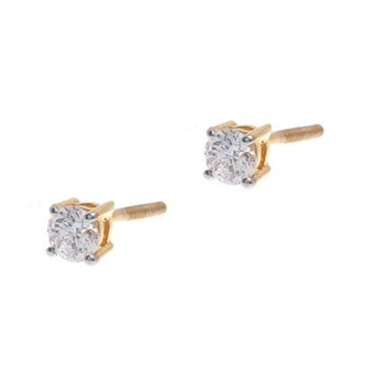 22ct Gold Cubic Zirconia Stud Earrings (2.24g) (RD4MM)