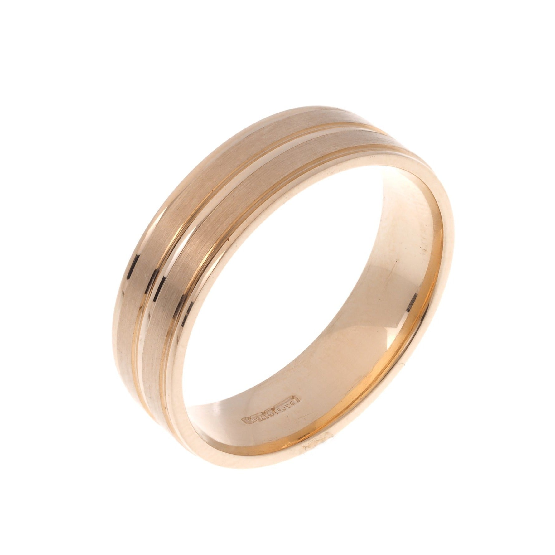 18ct 'Blush' Rose Gold Gents Court Wedding Band with Diamond Cut Design R/WBUFHBlushDiaCut